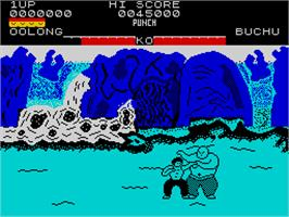 In game image of Yie Ar Kung-Fu on the Sinclair ZX Spectrum.