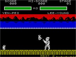 In game image of Yie Ar Kung-Fu 2: The Emperor Yie-Gah on the Sinclair ZX Spectrum.