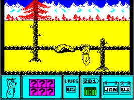 In game image of Yogi Bear on the Sinclair ZX Spectrum.