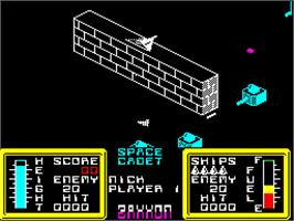 In game image of Zaxxon on the Sinclair ZX Spectrum.
