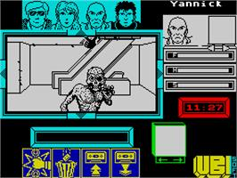In game image of Zombi on the Sinclair ZX Spectrum.