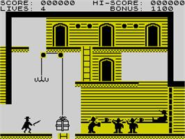 In game image of Zorro on the Sinclair ZX Spectrum.