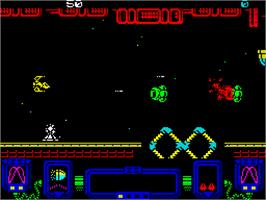 In game image of Zynaps on the Sinclair ZX Spectrum.