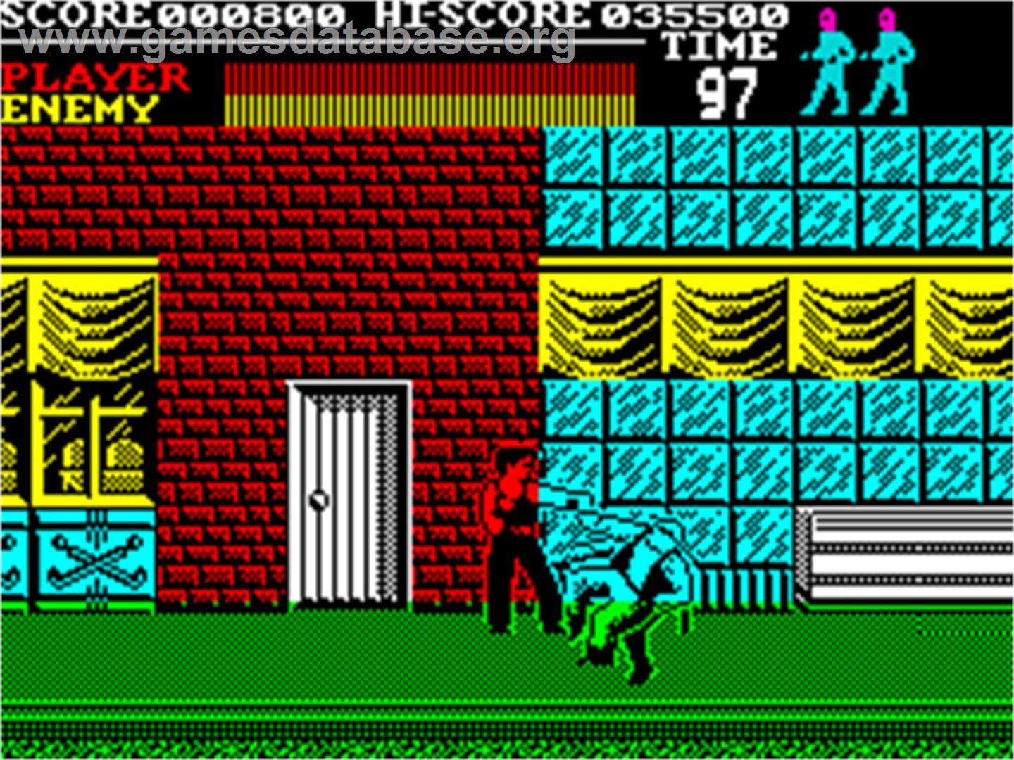In game image of Vigilante on the Sinclair ZX Spectrum.