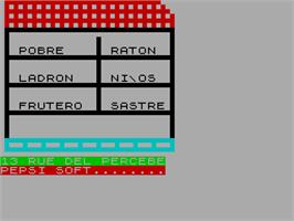 Title screen of 13 Rue del Percebe on the Sinclair ZX Spectrum.