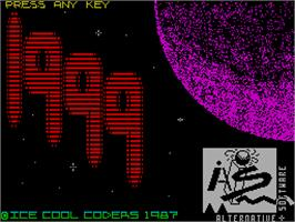 Title screen of 1999 on the Sinclair ZX Spectrum.