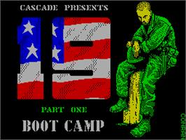 Title screen of 19 Part 1: Boot Camp on the Sinclair ZX Spectrum.