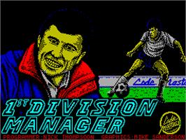Title screen of 1st Division Manager on the Sinclair ZX Spectrum.