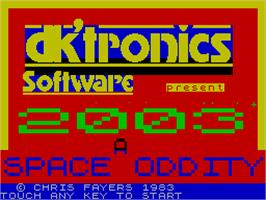 Title screen of 2003: A Space Oddity on the Sinclair ZX Spectrum.
