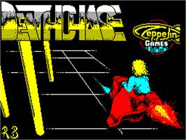 Title screen of 3D Deathchase on the Sinclair ZX Spectrum.