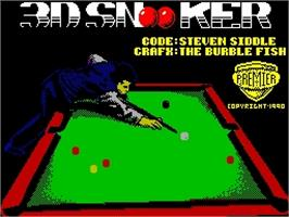 Title screen of 3D Snooker on the Sinclair ZX Spectrum.