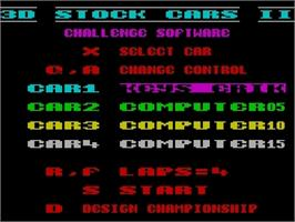 Title screen of 3D Stock Cars II on the Sinclair ZX Spectrum.
