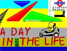 Title screen of A Day In the Life on the Sinclair ZX Spectrum.