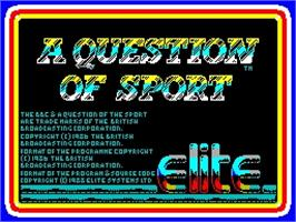 Title screen of A Question of Sport on the Sinclair ZX Spectrum.