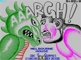 Title screen of Aaargh! on the Sinclair ZX Spectrum.