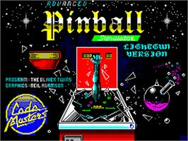 Title screen of Advanced Pinball Simulator on the Sinclair ZX Spectrum.