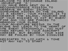 Title screen of Adventure D: Espionage Island on the Sinclair ZX Spectrum.