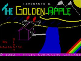 Title screen of Adventure E: The Golden Apple on the Sinclair ZX Spectrum.