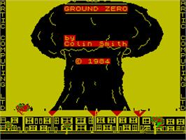 Title screen of Adventure G: Ground Zero on the Sinclair ZX Spectrum.