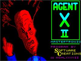 Title screen of Agent X II: The Mad Prof's Back! on the Sinclair ZX Spectrum.