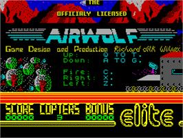 Title screen of Airwolf on the Sinclair ZX Spectrum.