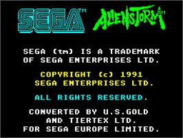 Title screen of Alien Storm on the Sinclair ZX Spectrum.