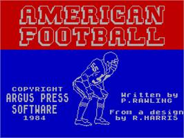 Title screen of American Football on the Sinclair ZX Spectrum.