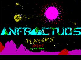 Title screen of Anfractuos on the Sinclair ZX Spectrum.