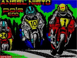 Title screen of Angel Nieto Pole 500 on the Sinclair ZX Spectrum.
