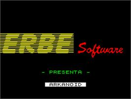 Title screen of Arkanoid on the Sinclair ZX Spectrum.
