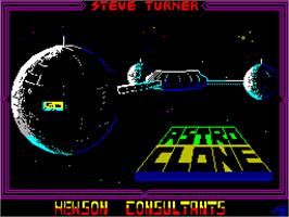 Title screen of Astroclone on the Sinclair ZX Spectrum.