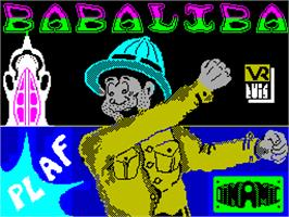 Title screen of Babaliba on the Sinclair ZX Spectrum.