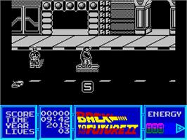 Title screen of Back to the Future Part II on the Sinclair ZX Spectrum.