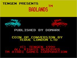 Title screen of Badlands on the Sinclair ZX Spectrum.