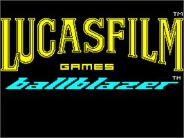 Title screen of Ballblazer on the Sinclair ZX Spectrum.