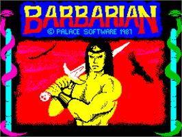Title screen of Barbarian on the Sinclair ZX Spectrum.