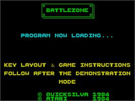 Title screen of Battlezone on the Sinclair ZX Spectrum.