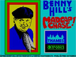 Title screen of Benny Hill's Madcap Chase on the Sinclair ZX Spectrum.