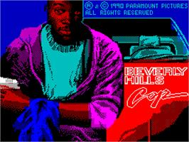Title screen of Beverly Hills Cop on the Sinclair ZX Spectrum.