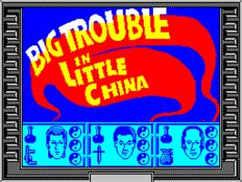 Title screen of Big Trouble in Little China on the Sinclair ZX Spectrum.