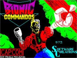Title screen of Bionic Commando on the Sinclair ZX Spectrum.