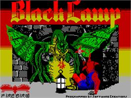 Title screen of Black Lamp on the Sinclair ZX Spectrum.