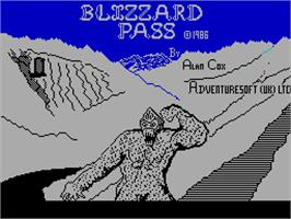 Title screen of Blizzard Pass on the Sinclair ZX Spectrum.