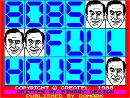 Title screen of Bob's Full House on the Sinclair ZX Spectrum.