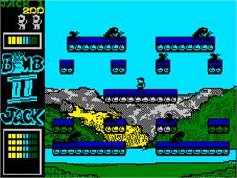 Title screen of Bomb Jack II on the Sinclair ZX Spectrum.