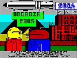 Title screen of Bonanza Bros. on the Sinclair ZX Spectrum.