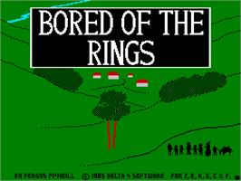 Title screen of Bored of the Rings on the Sinclair ZX Spectrum.