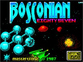 Title screen of Bosconian '87 on the Sinclair ZX Spectrum.