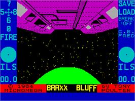 Title screen of Braxx Bluff on the Sinclair ZX Spectrum.