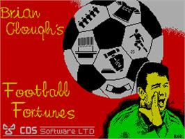 Title screen of Brian Clough's Football Fortunes on the Sinclair ZX Spectrum.